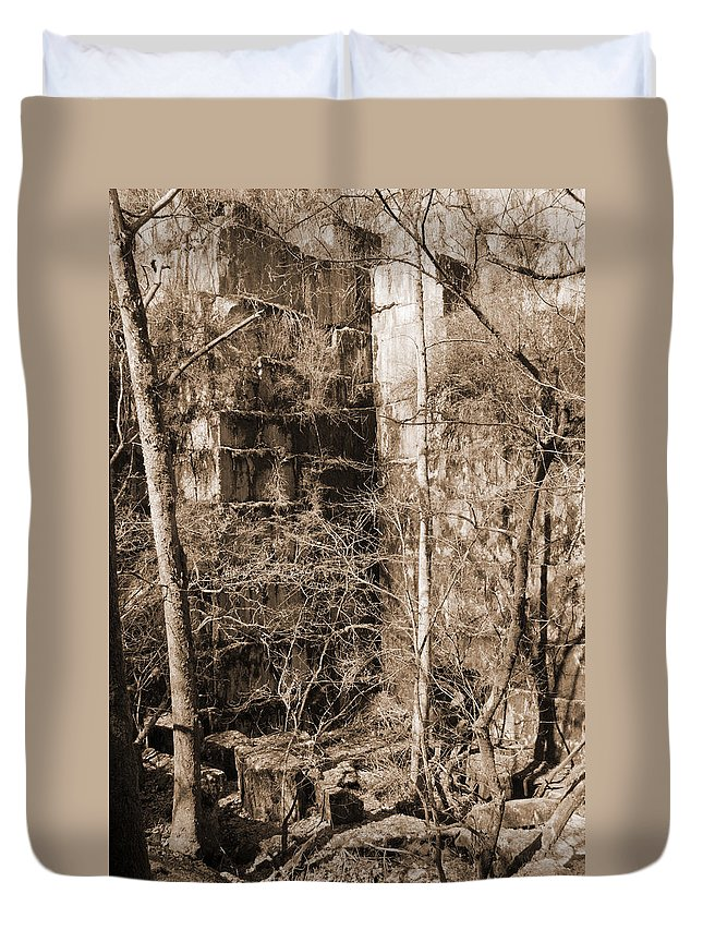 Abandoned Duvet Cover featuring the photograph Abandoned Marble Quarry by Melinda Fawver