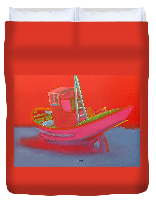 Fishing Duvet Cover featuring the painting Abandoned Red Fishing Trawler by Charles Stuart