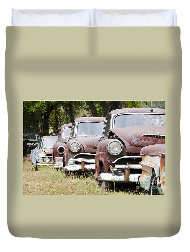 Metal Duvet Cover featuring the photograph Abandoned Rusted Cars by Oscar Gutierrez