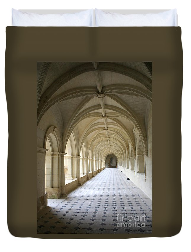 Cloister Duvet Cover featuring the photograph Abbaye De Frontevraud Cross Coat by Christiane Schulze Art And Photography