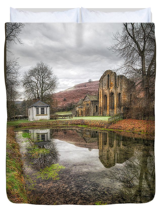 13th Century Duvet Cover featuring the photograph Abbey Reflection by Adrian Evans