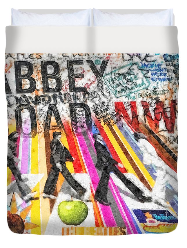 Abbey Road Duvet Cover featuring the mixed media Abbey Road by Mo T