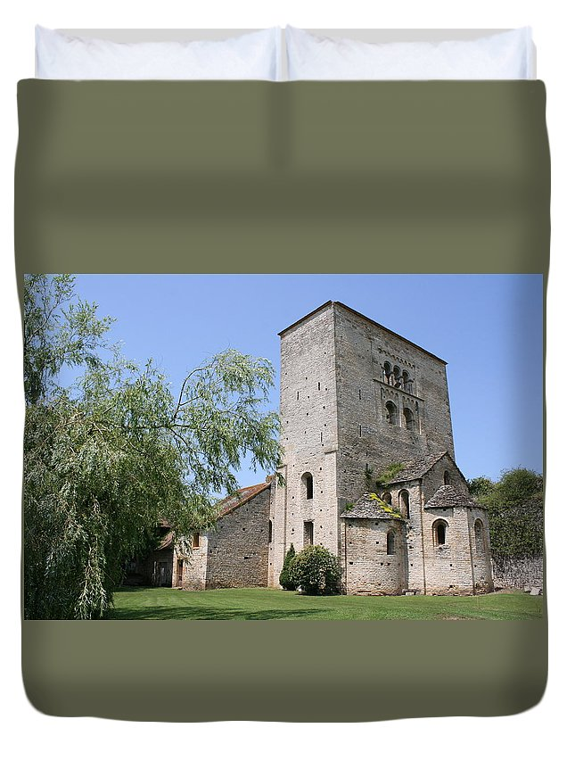 Abbey Duvet Cover featuring the photograph Abbey Ruin - Burgundy by Christiane Schulze Art And Photography