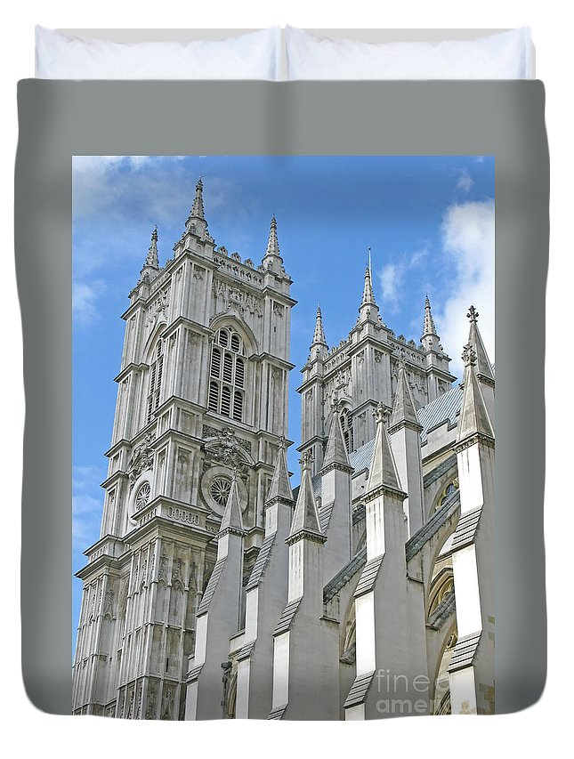 London Duvet Cover featuring the photograph Abbey Towers by Ann Horn