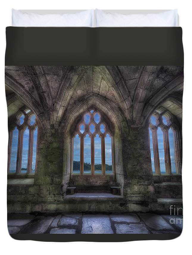 13th Century Duvet Cover featuring the photograph Abbey View by Adrian Evans