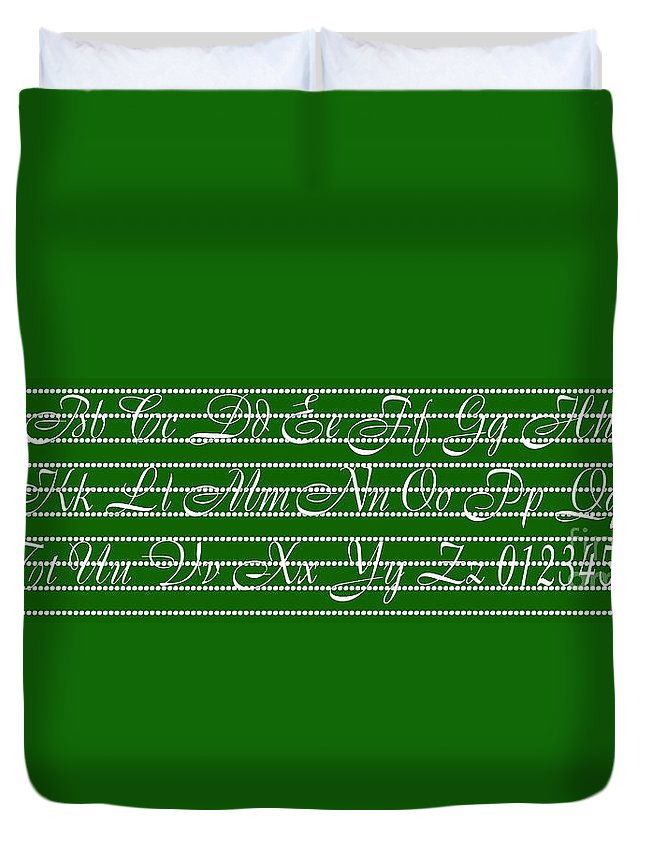 Alphabet Duvet Cover featuring the digital art Abc 123 Green by Andee Design