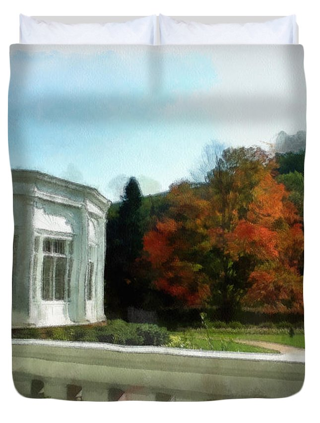 Composite Duvet Cover featuring the photograph Ablaze In Autumn by Paulette B Wright