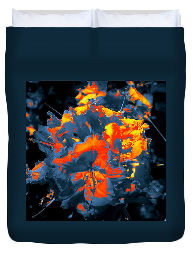 Monochrome Duvet Cover featuring the photograph Ablaze by Tim G Ross