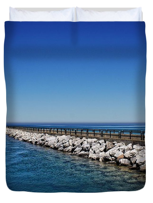 Charlevoix South Pier Lighthouse Duvet Cover featuring the photograph Above And Below by Chris Fleming