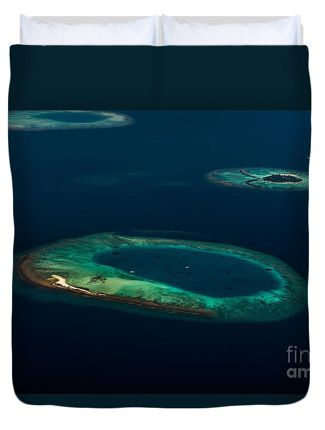 Atoll Duvet Cover featuring the photograph Above Paradise - Turtle by Hannes Cmarits
