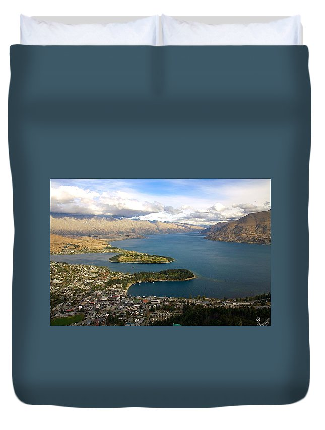 New Zealand Duvet Cover featuring the photograph Above Queenstown by Stuart Litoff