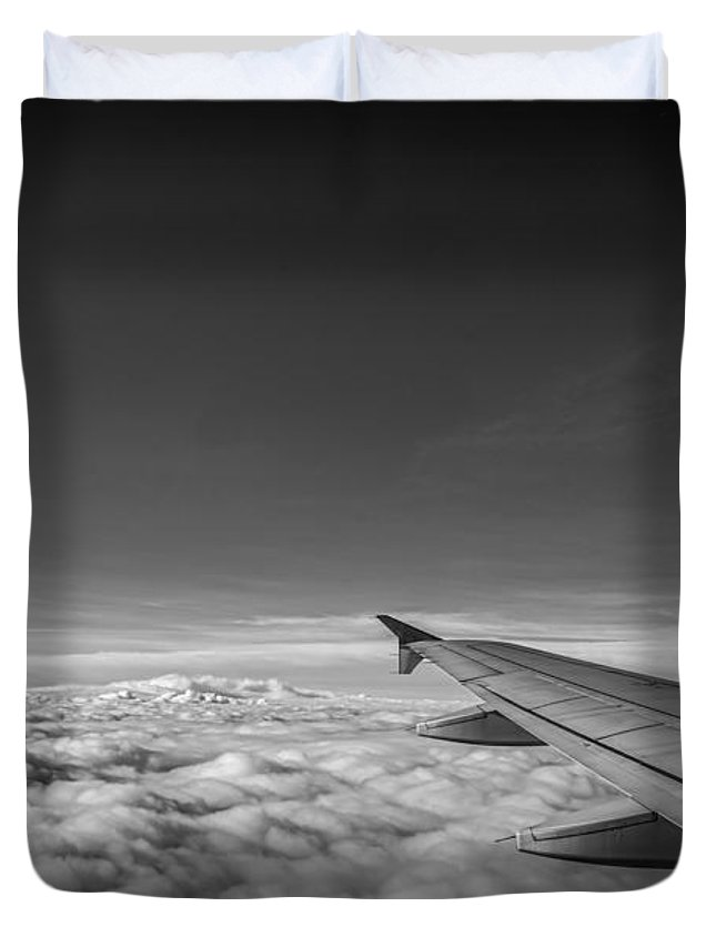 Above The Clouds Duvet Cover featuring the photograph Above The Clouds Bw by Michael Ver Sprill