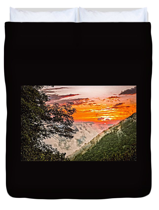 Babcock State Park Duvet Cover featuring the photograph Above The Clouds - Paint by Steve Harrington