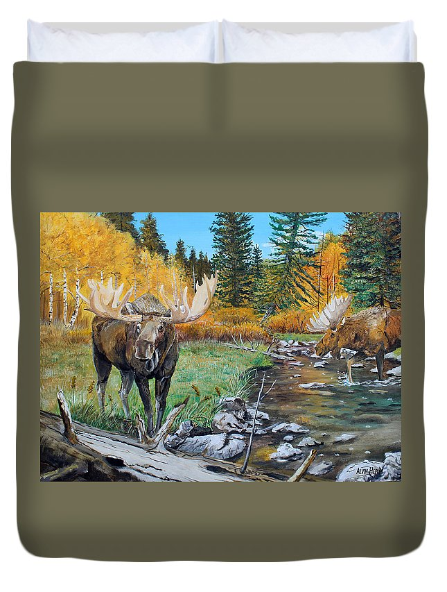 Bull Duvet Cover featuring the painting Above The Lake ..moose by Alvin Hepler