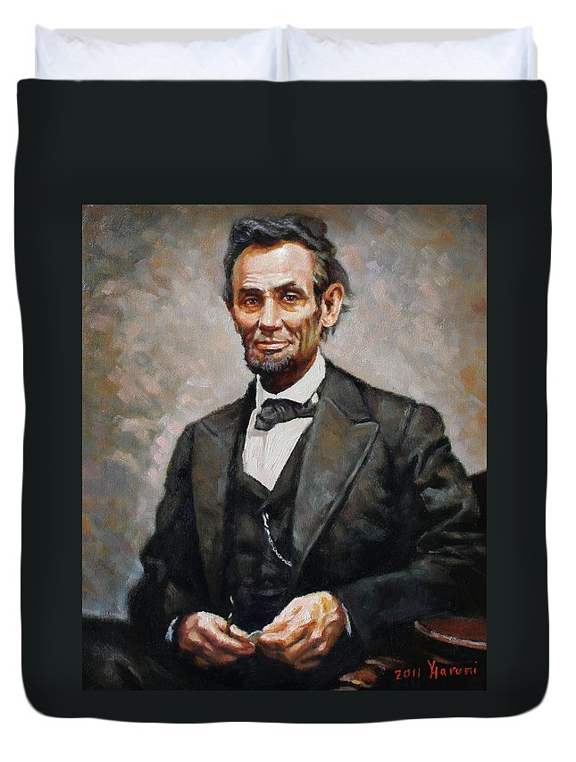 Abraham Lincoln Duvet Cover featuring the painting Abraham Lincoln by Ylli Haruni