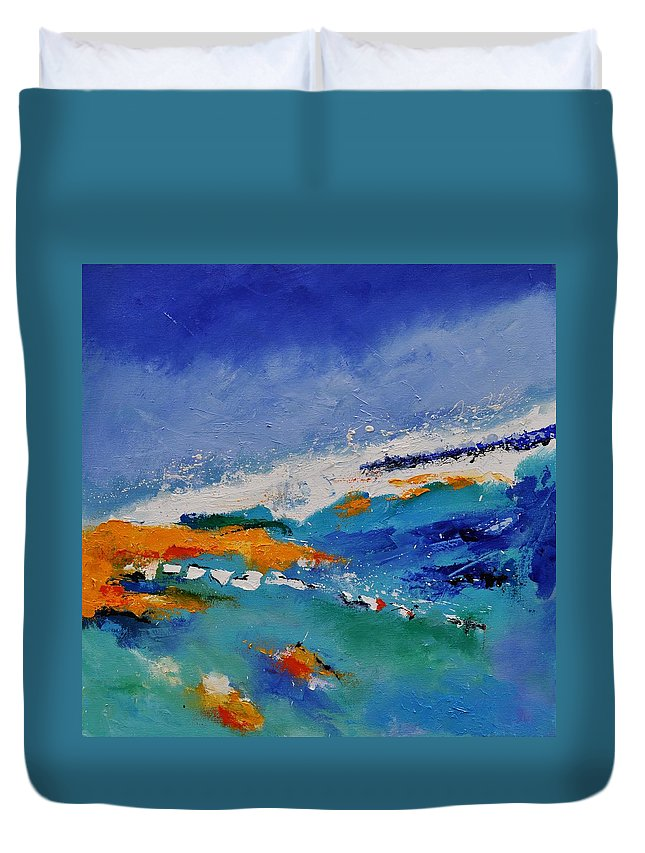 Abstract Duvet Cover featuring the painting Abstract 88319091 by Pol Ledent