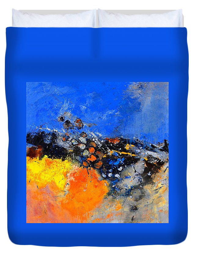 Abstract Duvet Cover featuring the painting Abstract 88411133 by Pol Ledent