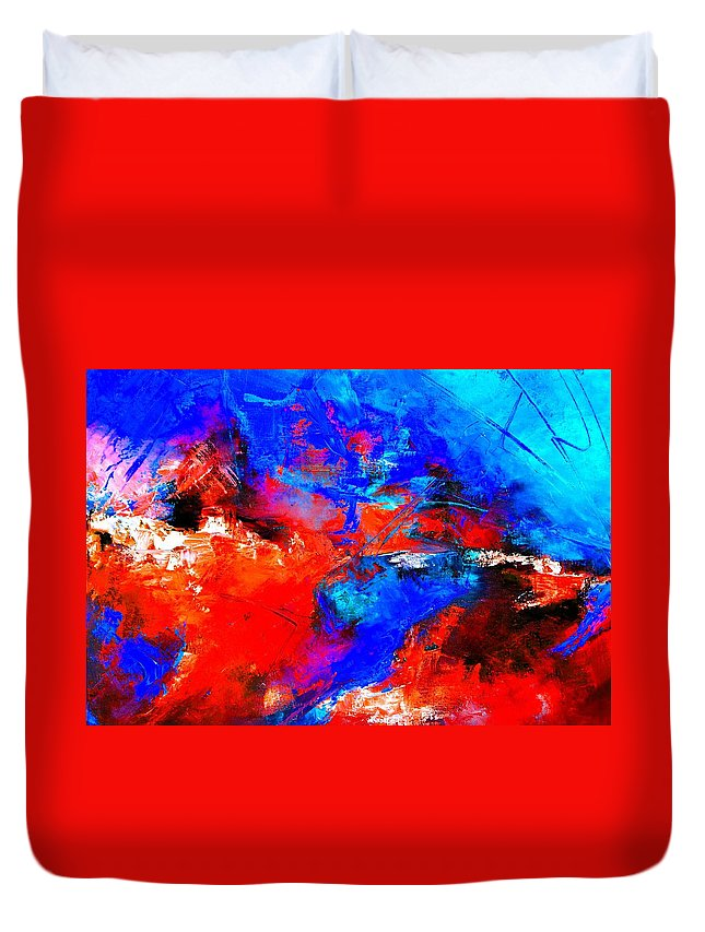 Abstract Duvet Cover featuring the painting Abstract 9683805 by Pol Ledent