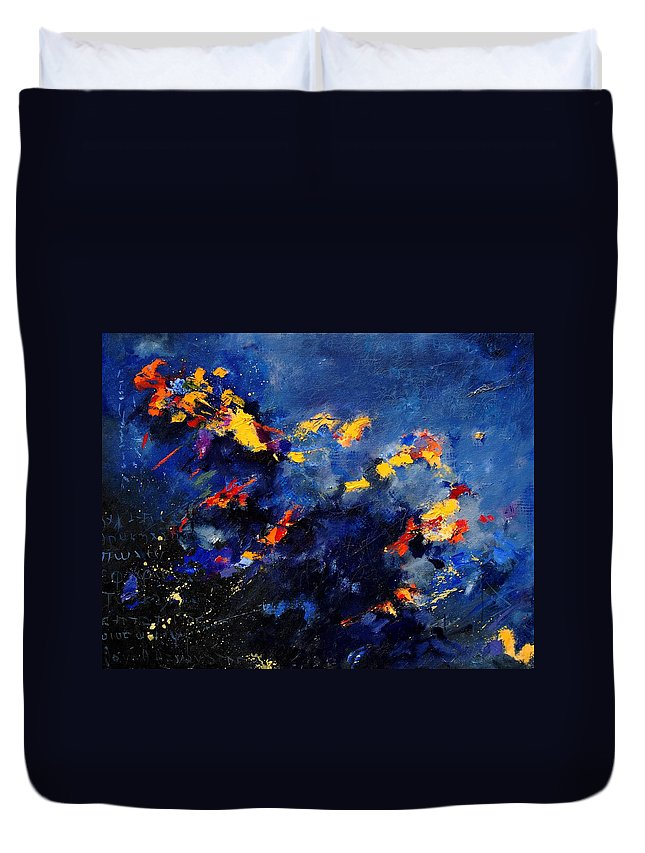 Abstract Duvet Cover featuring the painting Abstract 971207 by Pol Ledent