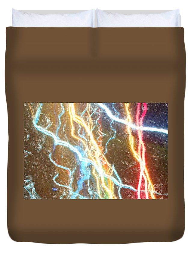 Abstract Duvet Cover featuring the photograph Light Painting - Abstract Art 2 by Nikki Vig