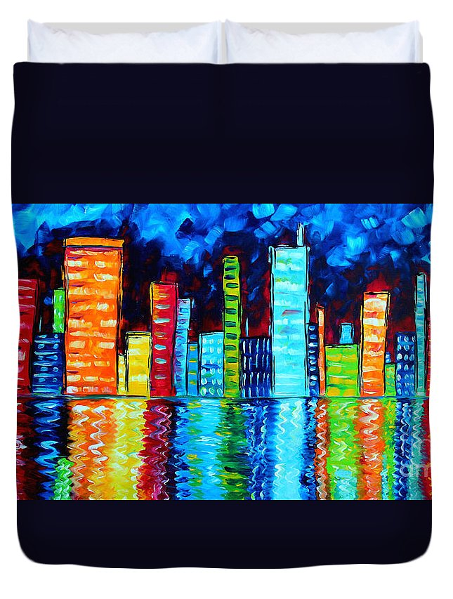 Abstract Duvet Cover featuring the painting Abstract Art Landscape City Cityscape Textured Painting City Nights II By Madart by Megan Duncanson