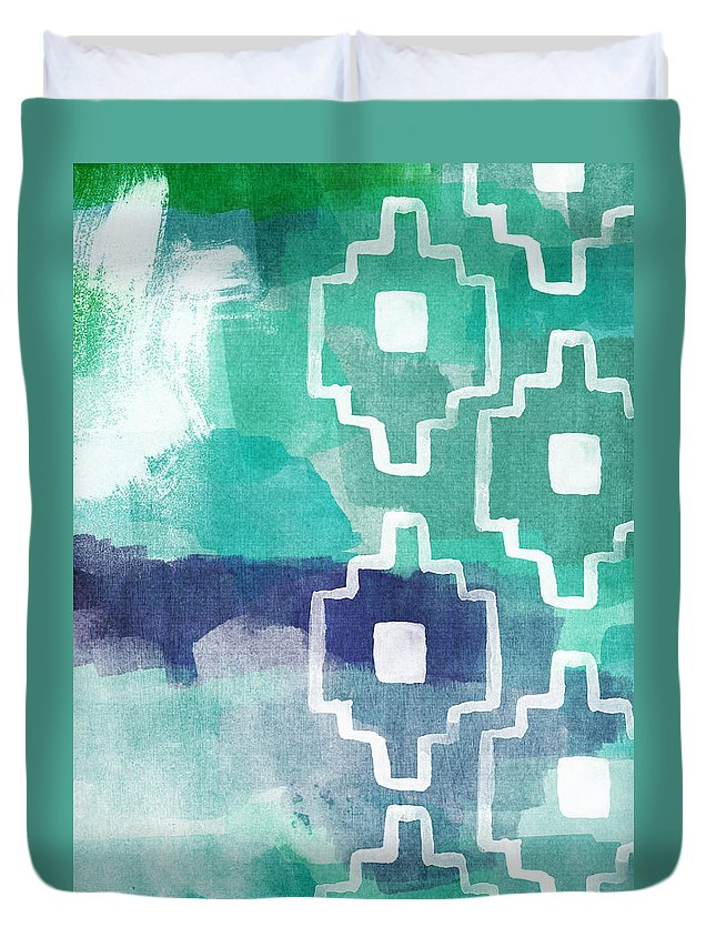 Aztec Duvet Cover featuring the painting Abstract Aztec- Contemporary Abstract Painting by Linda Woods