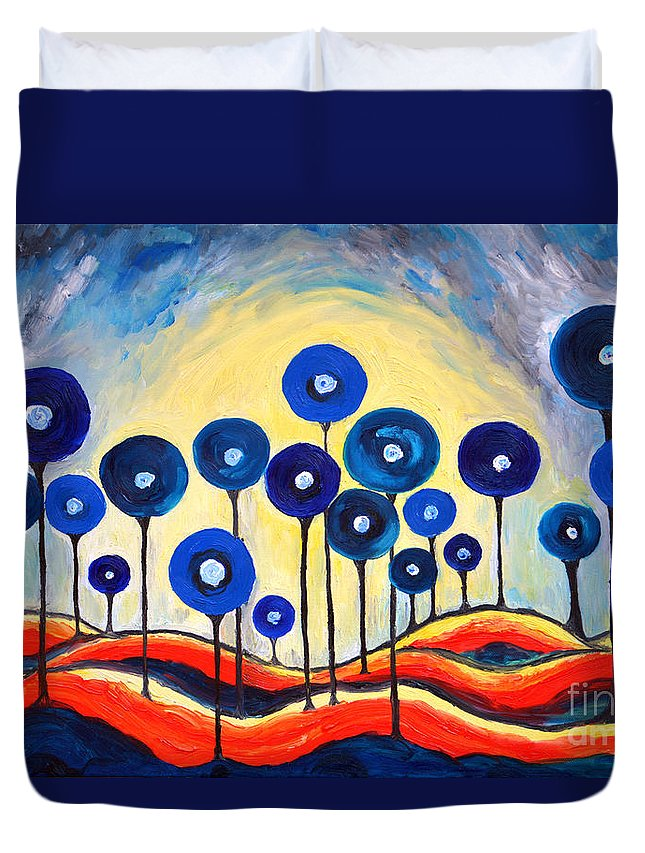 Lollipops Duvet Cover featuring the painting Abstract Blue Symphony by Ramona Matei