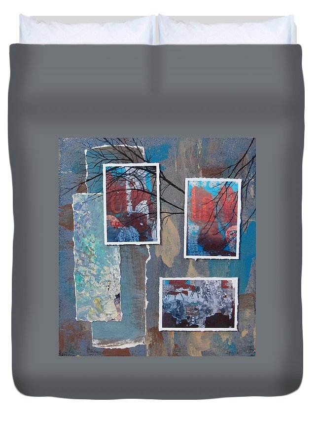 Abstract Duvet Cover featuring the mixed media Abstract Branch Collage Trio by Anita Burgermeister