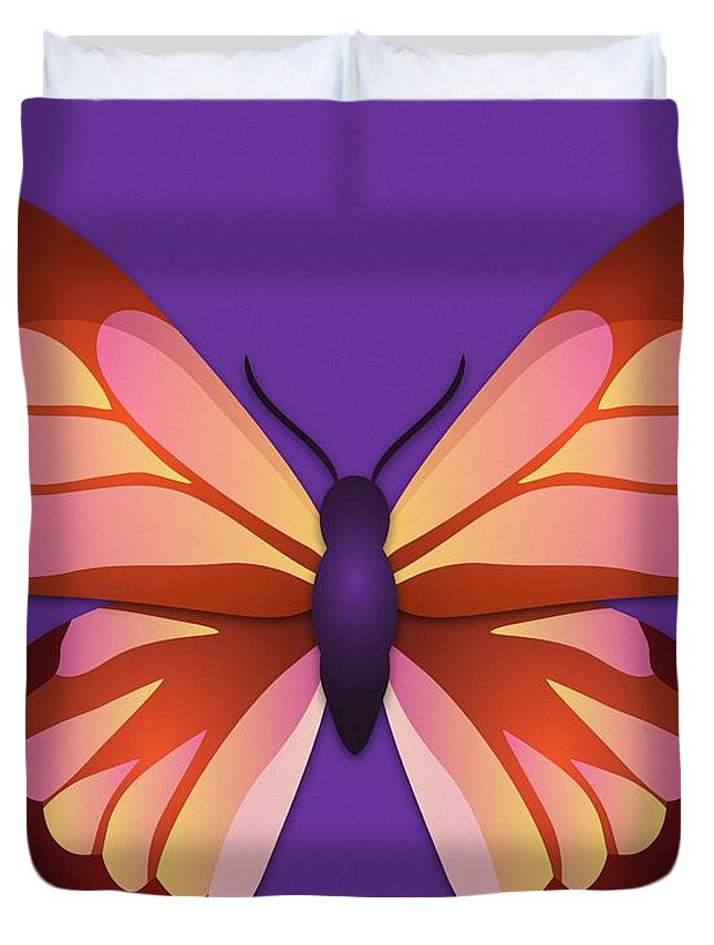 Butterfly Duvet Cover featuring the digital art Butterfly Graphic Orange Pink Purple by MM Anderson