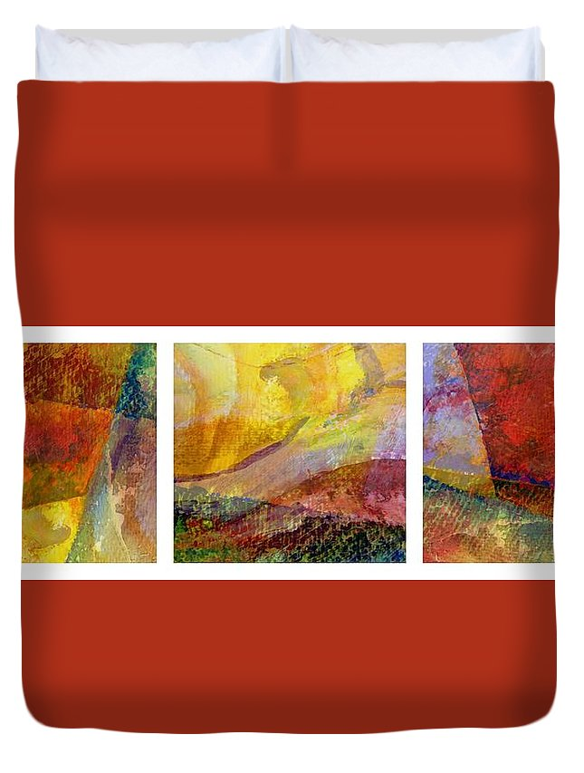 Abstract Collage Duvet Cover featuring the painting Abstract Collage No. 1 by Michelle Calkins