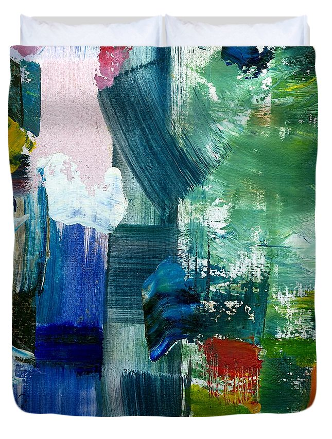 Abstract Collage Duvet Cover featuring the painting Abstract Color Relationships Lll by Michelle Calkins