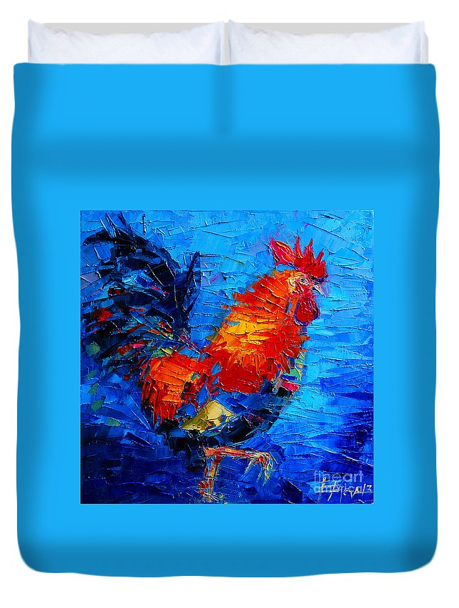Abstract Colorful Gallic Rooster Duvet Cover featuring the painting Abstract Colorful Gallic Rooster by Mona Edulesco