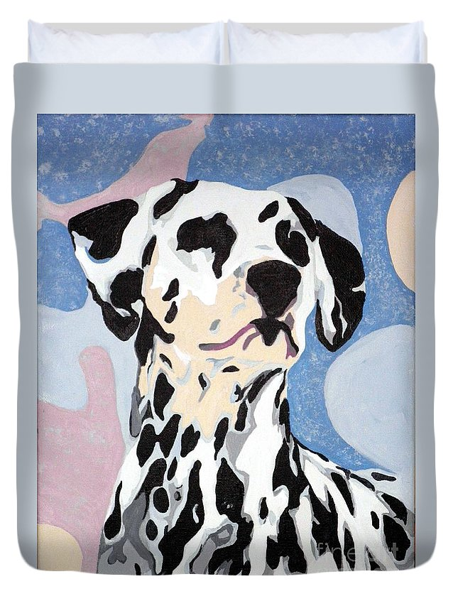 Dalmatian Duvet Cover featuring the painting Abstract Dalmatian by Jacki McGovern