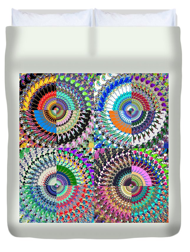 Abstract Duvet Cover featuring the digital art Abstract Digital Art Collage by Phil Perkins