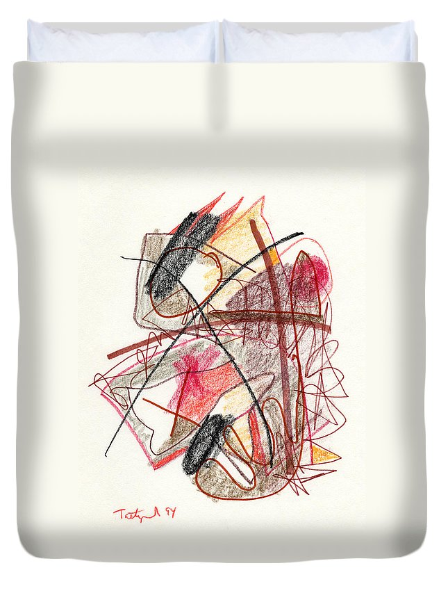 Abstract Duvet Cover featuring the drawing Abstract Drawing Twenty-one by Lynne Taetzsch