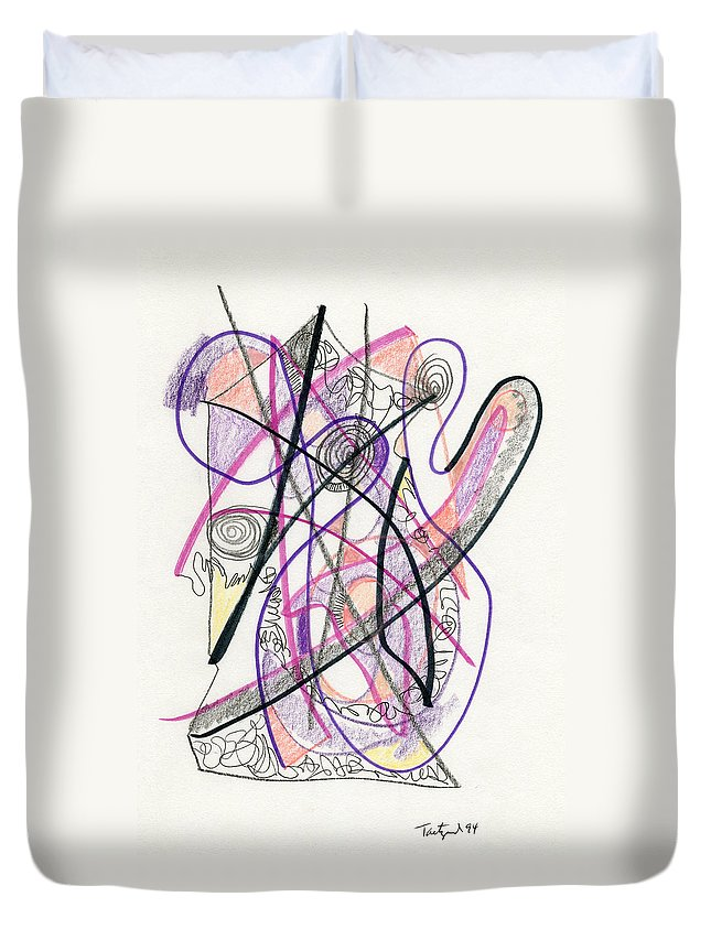 Abstract Duvet Cover featuring the drawing Abstract Drawing Twenty-six by Lynne Taetzsch