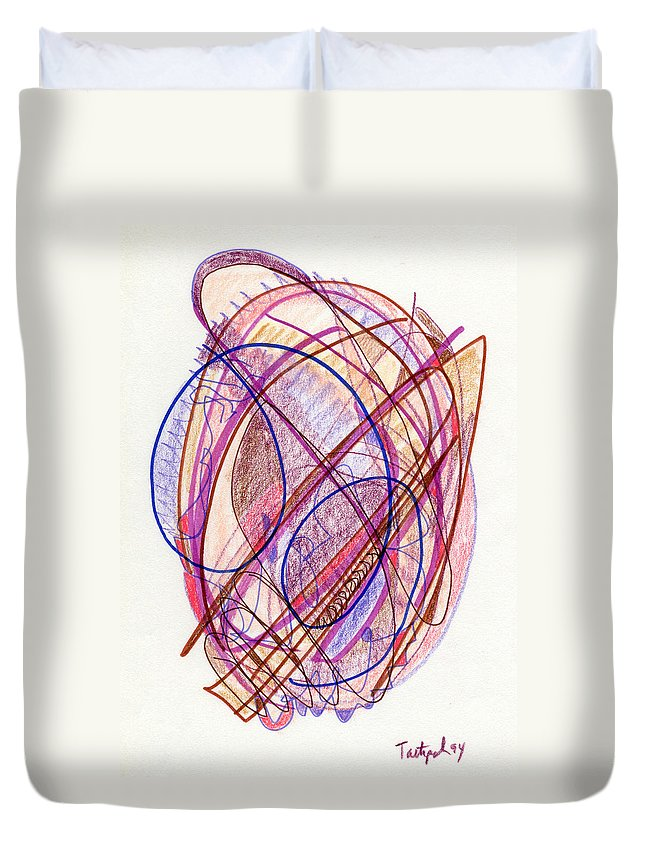 Abstract Duvet Cover featuring the drawing Abstract Drawing Twenty-two by Lynne Taetzsch