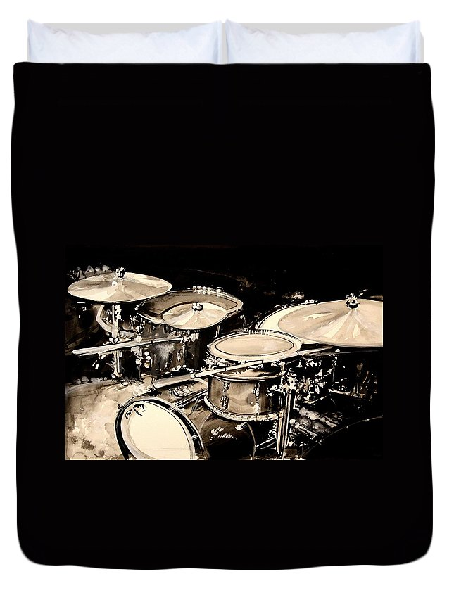 Drums Duvet Cover featuring the painting Abstract Drum Set by J Vincent Scarpace