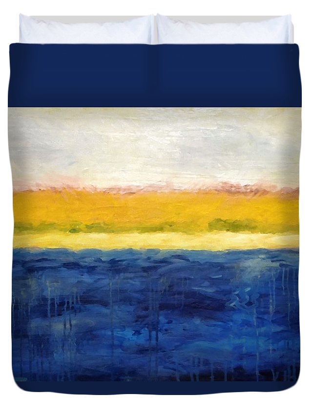 Abstract Landscape Duvet Cover featuring the painting Abstract Dunes with Blue and Gold by Michelle Calkins