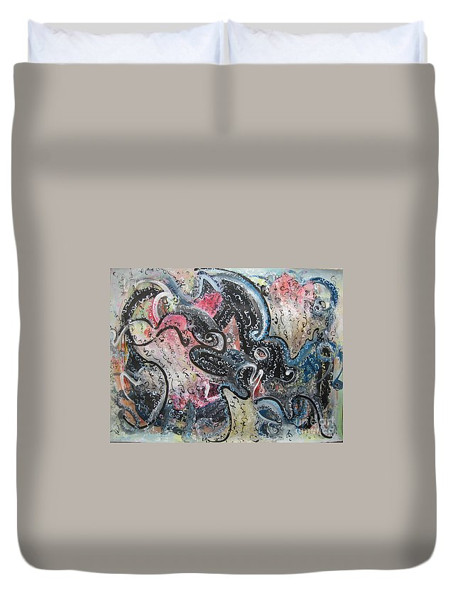 Calligraphy Painting Duvet Cover featuring the painting Abstract Expressionsim 02 by Seon-Jeong Kim