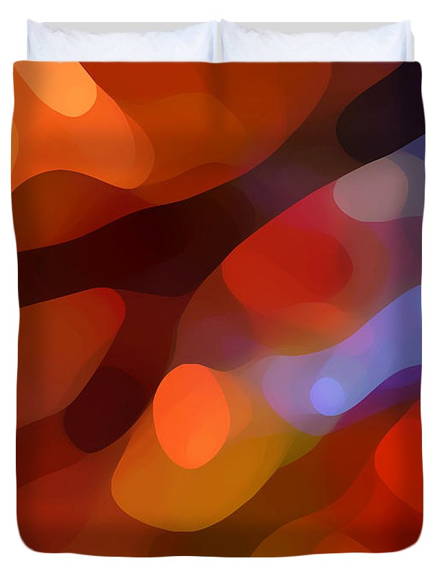 Abstract Art Duvet Cover featuring the painting Abstract Fall Light by Amy Vangsgard