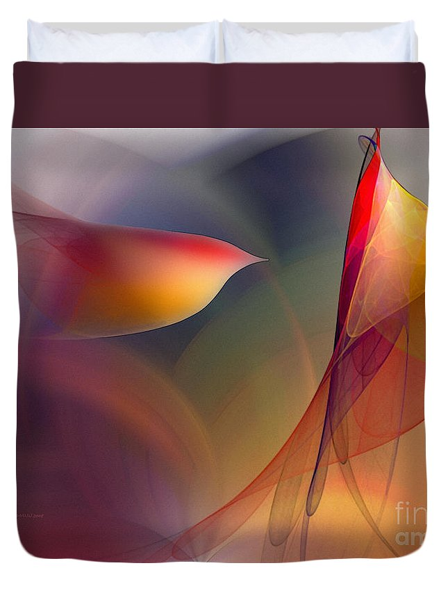 Abstract Duvet Cover featuring the digital art Abstract Fine Art Print Early in the Morning by Karin Kuhlmann
