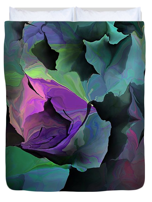 Fine Art Duvet Cover featuring the digital art Abstract Floral Expression 041213 by David Lane