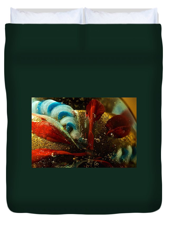 Gold Duvet Cover featuring the photograph Abstract Glass by Jess Kraft