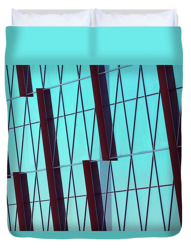 Ceiling Duvet Cover featuring the photograph Abstract Glass Surface With Geometric by Aapsky