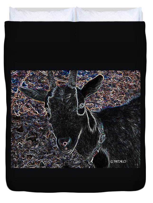 Goat Duvet Cover featuring the digital art Abstract Goat by George Pedro