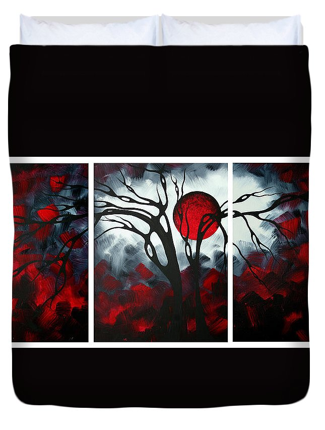 Abstract Duvet Cover featuring the painting Abstract Gothic Art Original Landscape Painting Imagine By Madart by Megan Duncanson