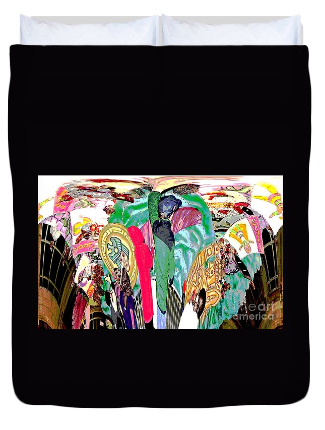 Computer Graphics Duvet Cover featuring the photograph Abstract Inca Warriors Past Present And Future by Marian Bell