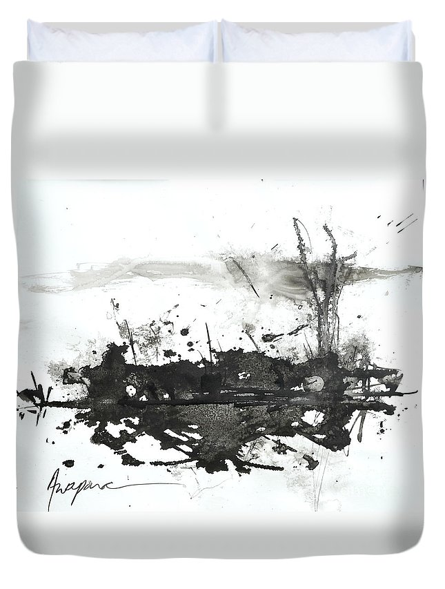 Abstract Art Duvet Cover featuring the painting Modern Abstract Black Ink Art by Patricia Awapara