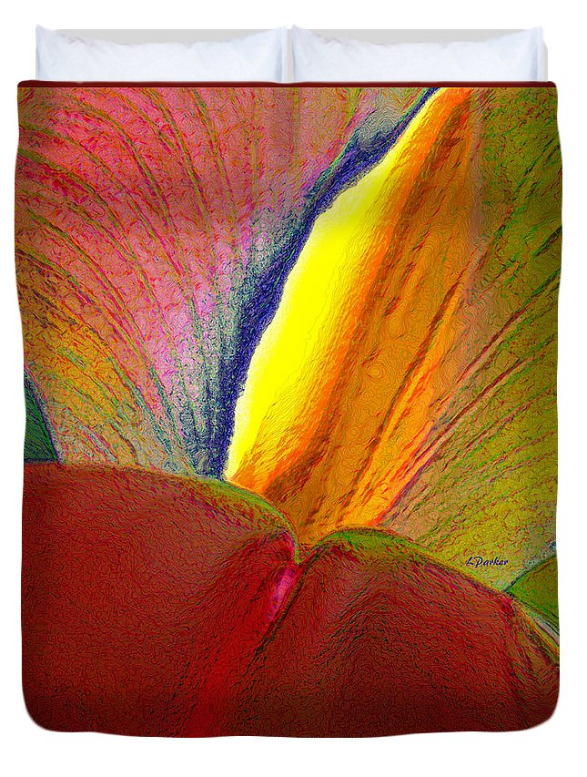 Abstract Duvet Cover featuring the photograph Abstract Iris 2 by Linda Parker